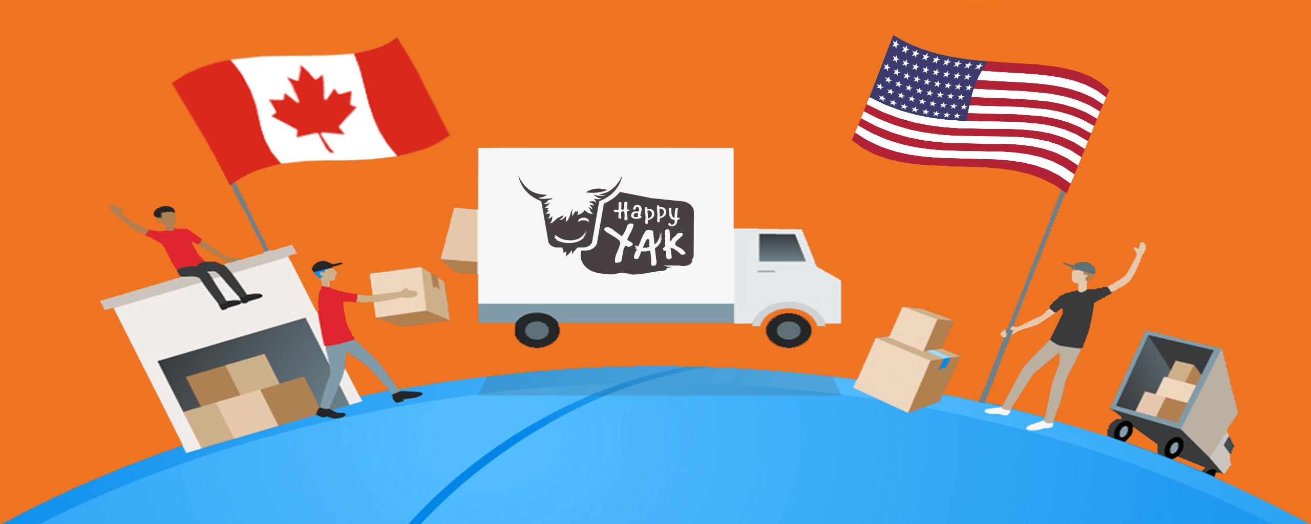 A truck is transporting Happy Yak meals to the US